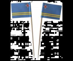 Cocktailprikker Aruba Vlag - 50 stuks