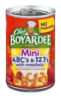 Chef Boyardee Mini ABC's and 123's with Meatballs 15oz (425g)