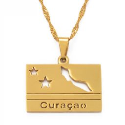 Jewelry Rectangle Necklace Curacao Gold Color 60cm