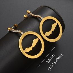 Jewelry Circle Shape Earrings Curacao with Stone Gold Color 3.5cm