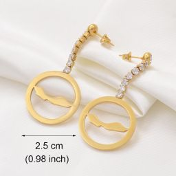 Jewelry Circle Shape Earrings Curacao with Stone Gold Color 2.5cm
