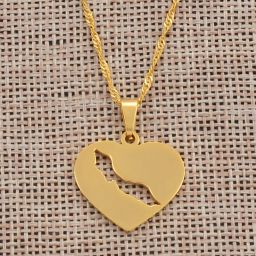Jewelry Necklace Heart Shape Curacao Gold Color 45cm
